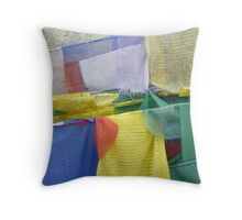 Colored buddhist prayer flags Throw Pillow