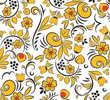 Khokhloma painting. Floral pattern by Gribanessa