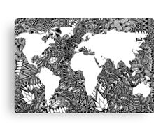 World Map in Negative Space of Random Doodle Patterns Canvas Print