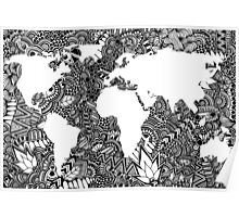 World Map in Negative Space of Random Doodle Patterns Poster