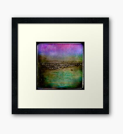 Twilight over a lonely city Framed Print