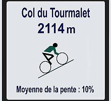 Col du Tourmalet Sign Tour de France Cycling by movieshirtguy