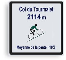 Col du Tourmalet Sign Tour de France Cycling Canvas Print