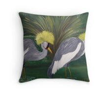 Black Crown Crane Throw Pillow