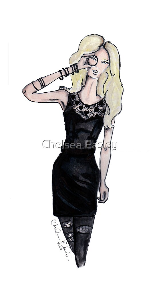"""""""Hearts"""" Fashion Illustration by Chelsea Easley"""