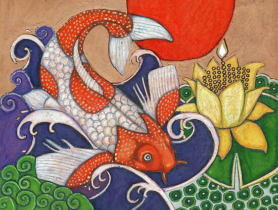 Leaping Koi by Lynnette Shelley