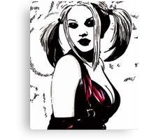 Hot Girl in Red Corset 7 Canvas Print