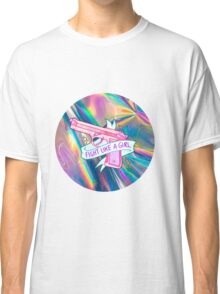 "Holographic ""fight like a girl"" Classic T-Shirt"