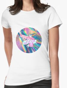 "Holographic ""fight like a girl"" Womens Fitted T-Shirt"