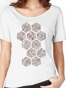 Chocolate Octagon Batik Modern Flower Mosaic Brown Chevron Effect Women's Relaxed Fit T-Shirt