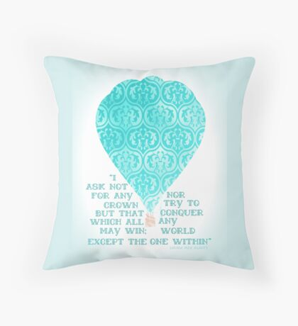 Hot Air Balloon Inspirational Literary Quote Typography Art Blue Print Throw Pillow
