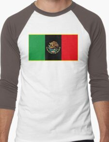 Afro Mexican Flag Men's Baseball ¾ T-Shirt