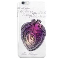Anatomical Heart Love Print Purple Watercolor Ink illustration William Shakespeare Literary Quote Typography iPhone Case/Skin