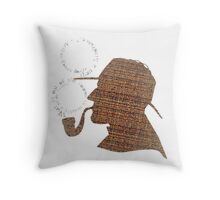 Sherlock Holmes Literary Quote Typography Man Cave Art Manique London Detective Brown Tweed Pattern Throw Pillow