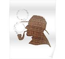 Sherlock Holmes Literary Quote Typography Man Cave Art Manique London Detective Brown Tweed Pattern Poster