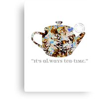 Mad Hatter Rainbow Whimsical Teapot Print Many Colors Artistic Pattern Tea Party Typography Kitchen Canvas Print