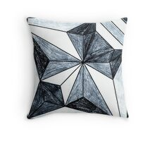 Blue Black Midnight Origami Art Style Geometric Color Blocking Quilt First Draft Design  Throw Pillow