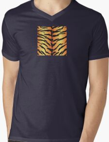 Tiger Skin Pattern Mens V-Neck T-Shirt