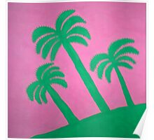 Pink and Green Palm Tree Silhouettes Poster
