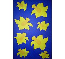 Pop Art Daffodils in Bold Blue Photographic Print