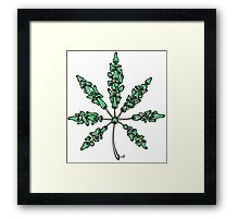 Marijuana Leaf Made of Mushrooms (green vesion) Framed Print