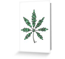 Marijuana Leaf Made of Mushrooms (green vesion) Greeting Card