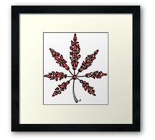 Marijuana Leaf Made of Mushrooms (red version) Framed Print