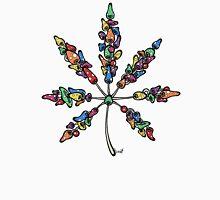 Marijuana Leaf Made of Mushrooms (multi-color version) Unisex T-Shirt