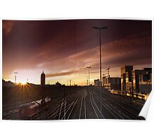 Munich Hackerbrücke Sunset Poster