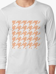 Peach Large Houndstooth Long Sleeve T-Shirt