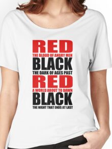 Red & Black Women's Relaxed Fit T-Shirt