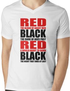 Red & Black Mens V-Neck T-Shirt