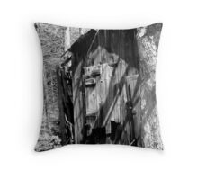 Old Shed in BW Throw Pillow