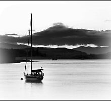 Sail Boat In Connel, Scotland. by Aj Finan