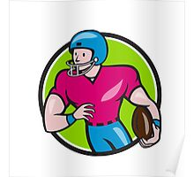 American Football Receiver Running Circle Cartoon Poster