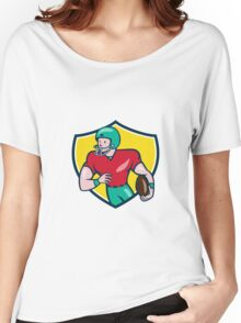 American Football Receiver Running Shield Cartoon Women's Relaxed Fit T-Shirt
