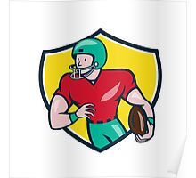 American Football Receiver Running Shield Cartoon Poster