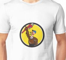 Turkey Plumber Raising Wrench Circle Cartoon Unisex T-Shirt