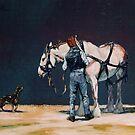 Heavy Grey Horse Harnessing by Tanya Zaadstra