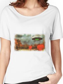 UFO Invasion Small Town by Raphael Terra Women's Relaxed Fit T-Shirt