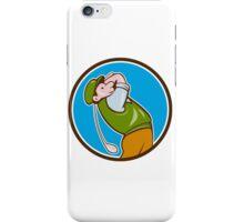 Vintage Golfer Swinging Club Teeing Off Circle  iPhone Case/Skin