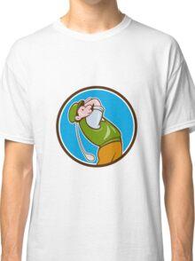 Vintage Golfer Swinging Club Teeing Off Circle  Classic T-Shirt