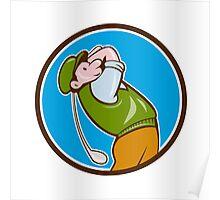Vintage Golfer Swinging Club Teeing Off Circle  Poster