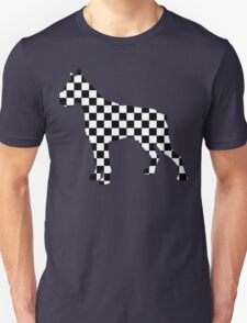 Racing Checkered Flag Cane Corso Mastiff Design Black and White Check Racer Dog Pattern 2 Unisex T-Shirt