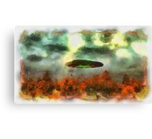 UFO Invasion Small Town 2 by Raphael Terra Canvas Print