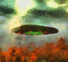 UFO Invasion Small Town 2 by Raphael Terra Sticker