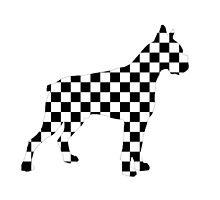 Racing Checkered Flag Bulldog Design Black and White Check Racer Dog Pattern 1 by Saburkitty