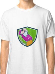 Vintage Golfer Swinging Club Teeing Off Shield  Classic T-Shirt