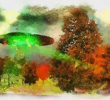 UFO Invasion Small Town 3 by Raphael Terra by esotericaart
