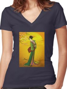 Beautiful Japanese girl Women's Fitted V-Neck T-Shirt